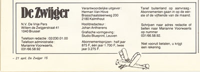 De Zwijger cartoonblad van Johan Anthierens in 1982
